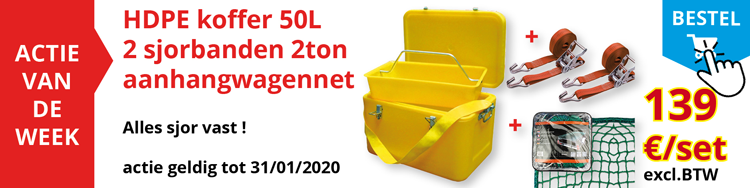 set van HDPE koffer 50L - 2 sjorbanden 2Ton en aanhangwagennet